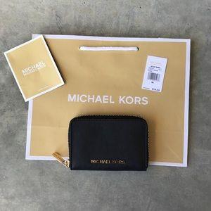 Michael Kors Black Leather Jet Set Travel Cardcase